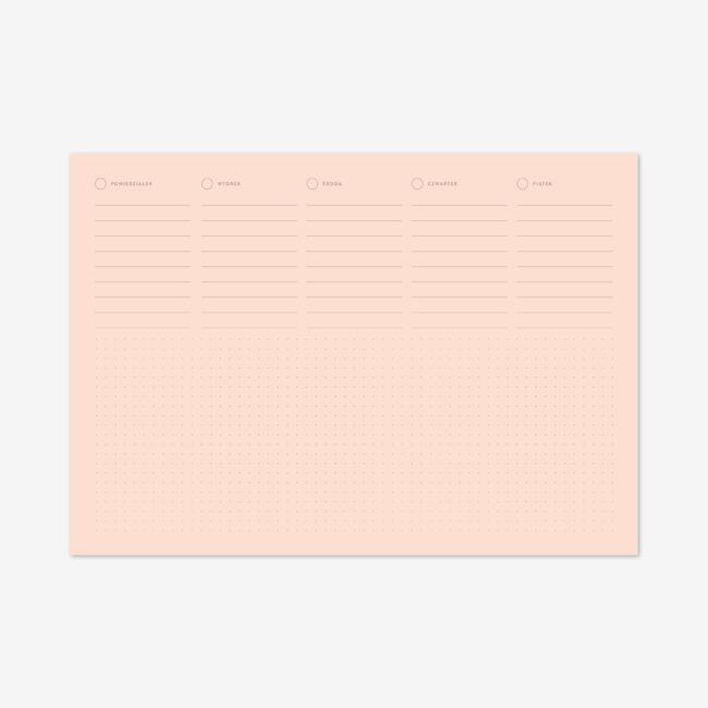 Różowy notes tygodniowy