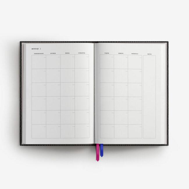 Planer czarny plan miesiąca