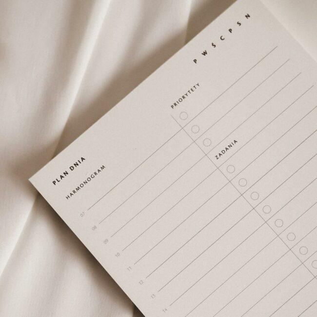 Jak zaplanować dzień notes