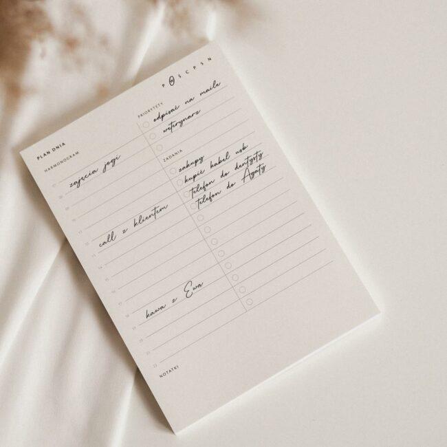 Planowanie dnia notes