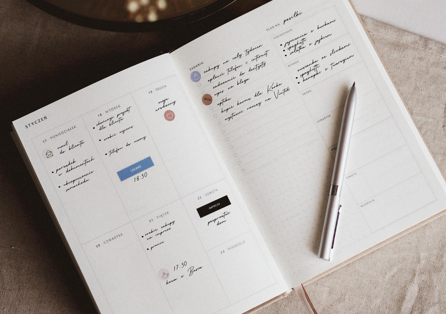 Jak zaplanować tydzień w planerze